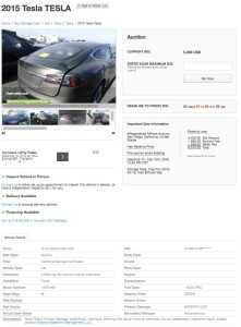 Example online sale of a flooded Model S