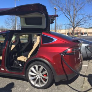 First Model X seen in the wild at Lumberton, NC Supercharger